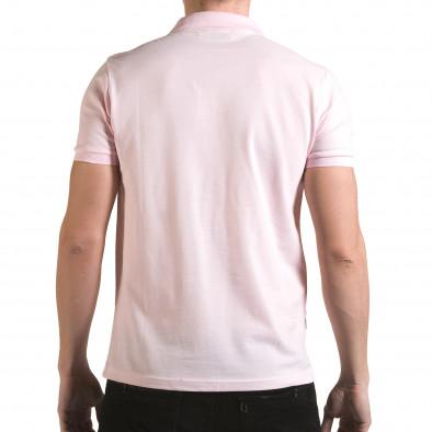 Tricou cu guler bărbați Franklin roz il170216-36 3