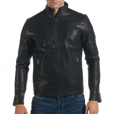 Geacă din piele ecologica bărbați Justboy neagră it191016-87 2