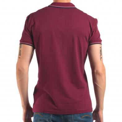 Tricou cu guler bărbați Bruno Leoni roșu it150616-35 3