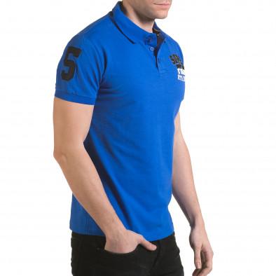 Tricou cu guler bărbați Franklin albastru il170216-21 4
