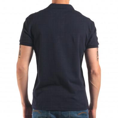 Tricou cu guler bărbați Bruno Leoni albastru it150616-36 3