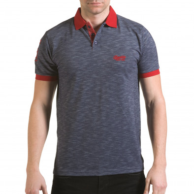 Tricou cu guler bărbați Franklin albastru il170216-38 2