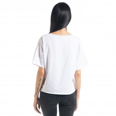 Tricou de dama în alb Loose fit il080620-11 3