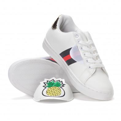 Teniși de dama albi cu banda velcro cu ananas brodat it230418-54 4