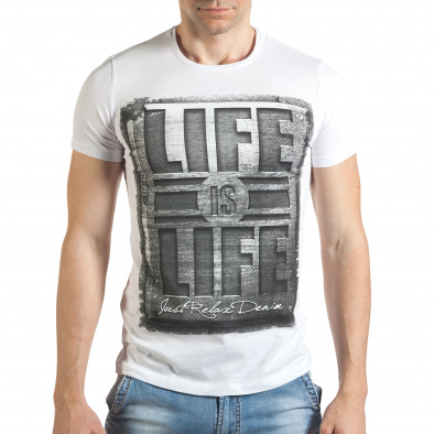 Tricou bărbați Just Relax alb il140416-44 2
