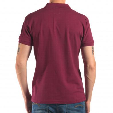Tricou cu guler bărbați Bruno Leoni roșu it150616-37 3