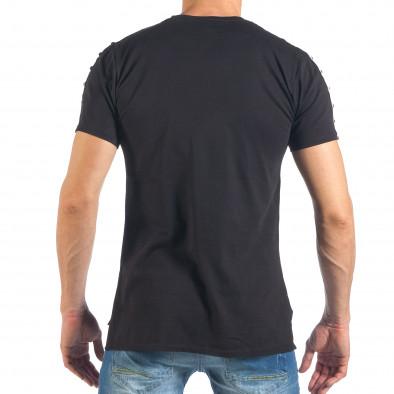 Tricou de bărbați negru cu aplicație și ținte it260318-186 4