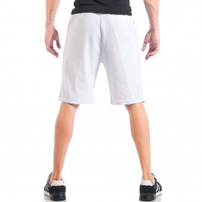 Pantaloni scurți pentru bărbați albi cu părți negre și roșii it050618-41 4