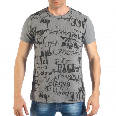 Tricou de bărbați gri cu inscripții negre it260318-184 2