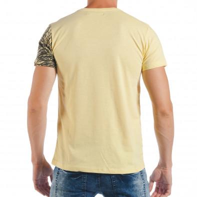 Tricou de bărbați galben cu imprimeu frunze de palm tsf250518-26 3