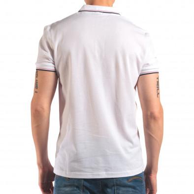 Tricou cu guler bărbați Bruno Leoni alb it150616-31 3
