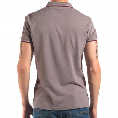 Tricou cu guler bărbați Bruno Leoni gri it150616-33 3