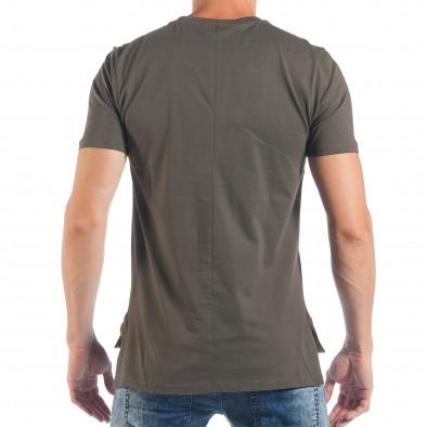 Tricou verde tip Rocker de bărbați cu imprimeu tsf250518-20 4