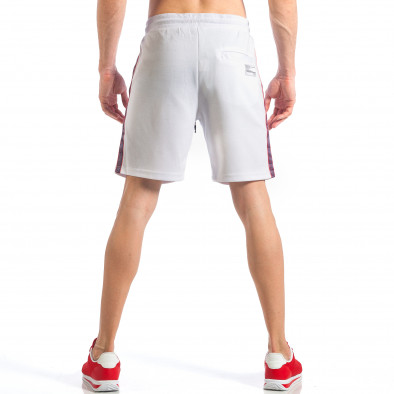 Pantaloni scurți de bărbați albi cu aplicație Drapelul britanic it110418-24 4