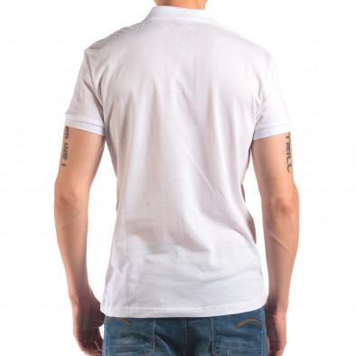 Tricou cu guler bărbați Bruno Leoni alb it150616-39 3