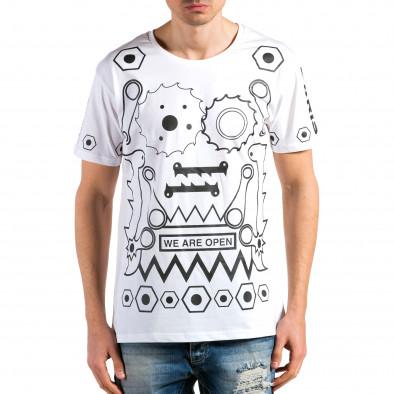 Tricou bărbați Kariqu alb it180315-46 2