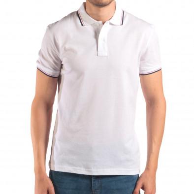 Tricou cu guler bărbați Bruno Leoni alb it150616-31 2
