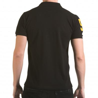 Tricou cu guler bărbați Franklin negru il170216-25 3