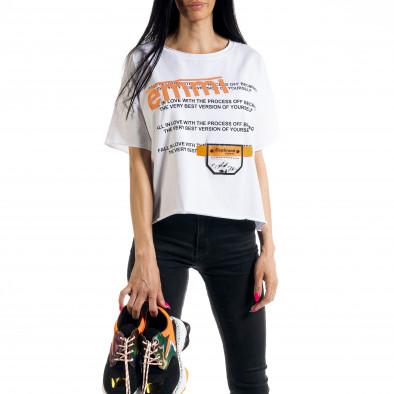Tricou de dama în alb Loose fit il080620-11 2