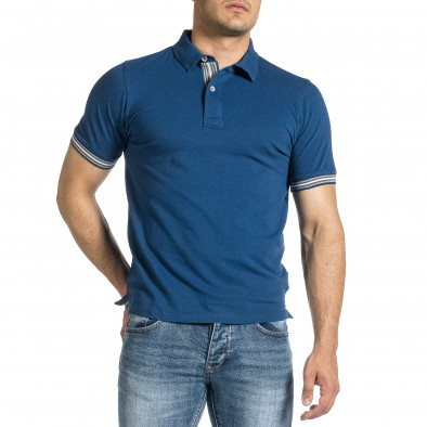 Tricou cu guler bărbați Baker's albastru it150521-17 2