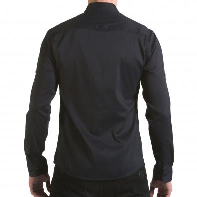 Cămașă cu mânecă lungă bărbați Buqra neagră il170216-114 3