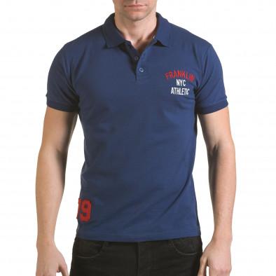 Tricou cu guler bărbați Franklin albastru il170216-33 2