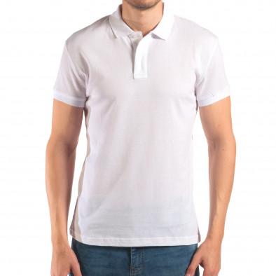 Tricou cu guler bărbați Bruno Leoni alb it150616-39 2