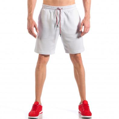 Pantaloni scurți de bărbați albi cu aplicație Drapelul britanic it110418-24 3