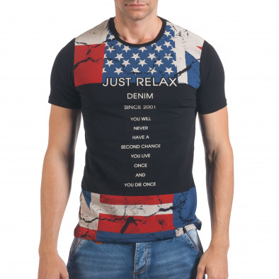 Tricou bărbați Just Relax negru il060616-12 2