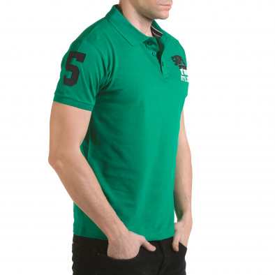 Tricou cu guler bărbați Franklin verde il170216-26 4