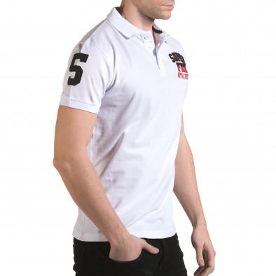 Tricou cu guler bărbați Franklin alb il170216-27 4