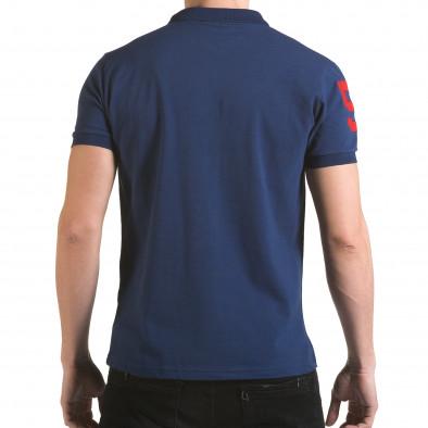 Tricou cu guler bărbați Franklin albastru il170216-28 3