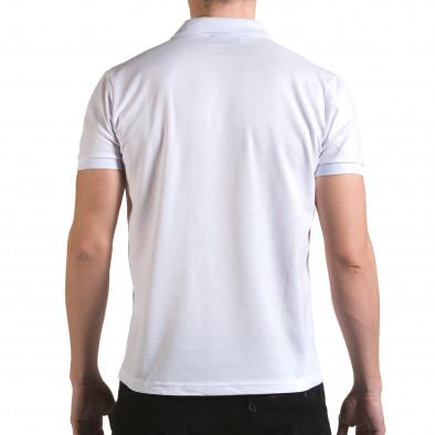 Tricou cu guler bărbați Franklin alb il170216-31 3