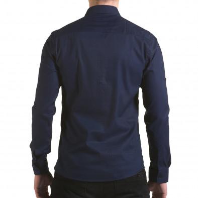 Cămașă cu mânecă lungă bărbați Buqra albastră il170216-113 3