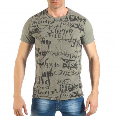 Tricou de bărbați verde cu inscripții negre it260318-182 2
