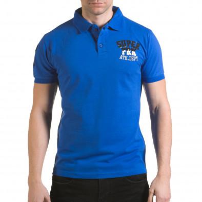 Tricou cu guler bărbați Franklin albastru il170216-21 2