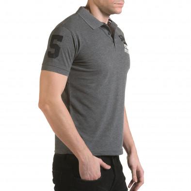 Tricou cu guler bărbați Franklin gri il170216-23 4