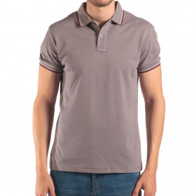Tricou cu guler bărbați Bruno Leoni gri it150616-33 2