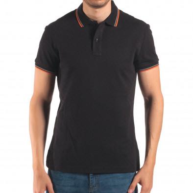 Tricou cu guler bărbați Bruno Leoni negru it150616-32 2