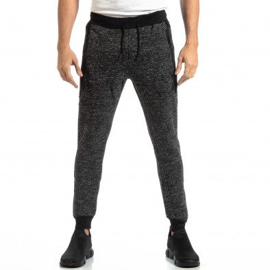 Pantaloni sport pentru bărbați în melanj negru-gri it261018-53 3