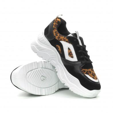 Pantofi sport de dama Chunky în negru și leopard it150319-62 4