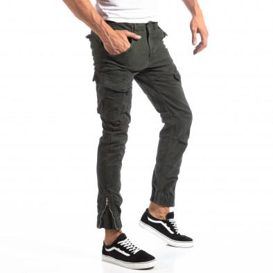 Pantaloni cargo verzi de bărbați cu fermoare la crac it250918-1 2