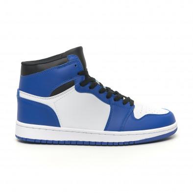 Teniși înalți de bărbați în albastru și alb it251019-21 3