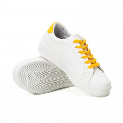 Teniși de dama cu șireturi galbeni și aplicații it150818-60 4