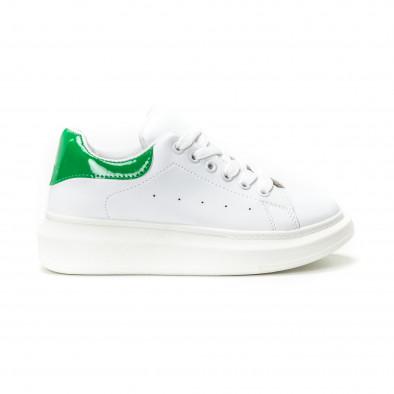 Teniși de dama albi cu călcâi verde lăcuit it150818-35 2