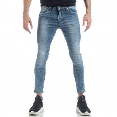 Skinny Washed Jeans albaștri pentru bărbați  it040219-7 3