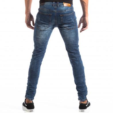 Slim Jeans albaștri cu aplicații și patch-uri pentru bărbați it260918-1 5