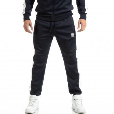 Pantaloni sport pentru bărbați albaștri cu benzi albe it261018-65 3
