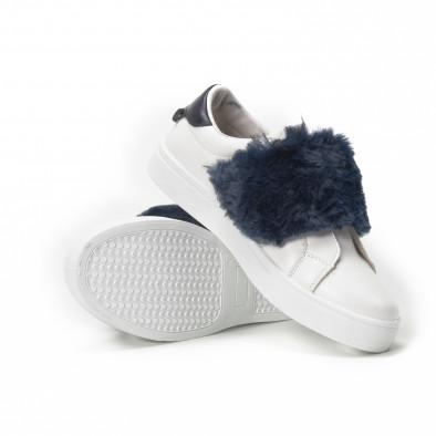 Teniși Slip-on albi de dama cu călcâi și puf albastru it150818-55 4