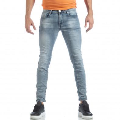 Washed Slim Jeans albaștri pentru bărbați it040219-13 3
